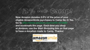 Camp gets 1/2% of eligible Amazon purchases with Amazon smile