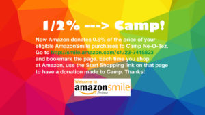 Amazon donates 1/2% of purchases to Camp when you use the special link http://smile.amazon.com/ch/23-7418823