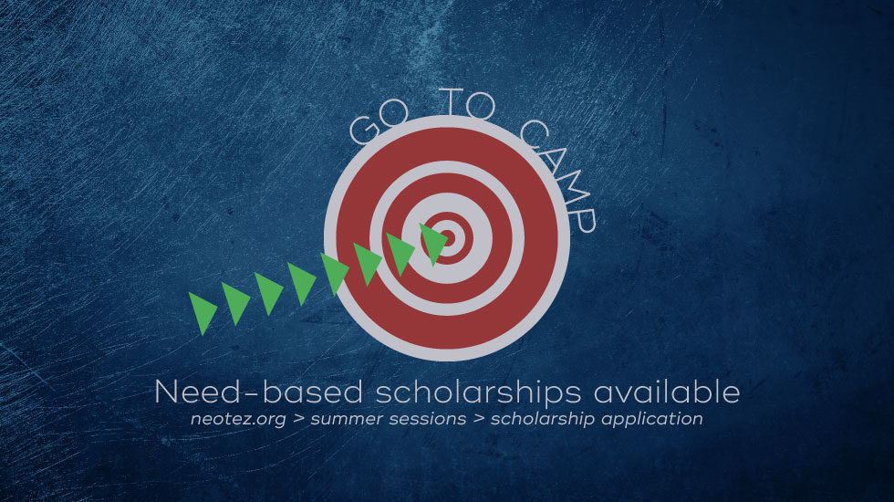 arrows to target Go To Camp Need-Based Scholarships Available blue grunge background