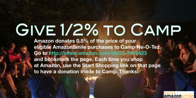 campers around campfire Amazon smile link to give 1/2% of purchase to Camp
