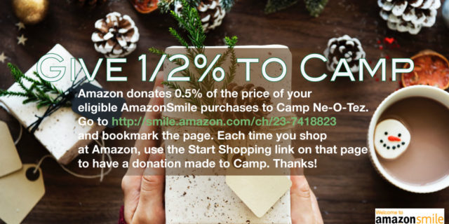 gift being given with pinecones, hot chocolate Give 1/2% to Camp by using Amazon Smile link