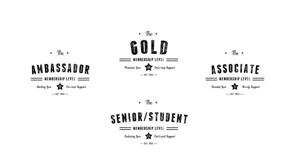 Gold (100) Ambassador (50) Associate (25) Sr/Student (12.5) Choose a level, become a member