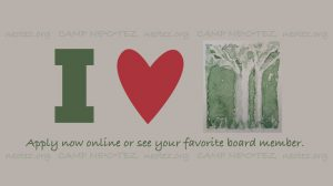I [HEART] Camp Ne-O-Tez (watercolor logo) Apply now or see your favorite board member