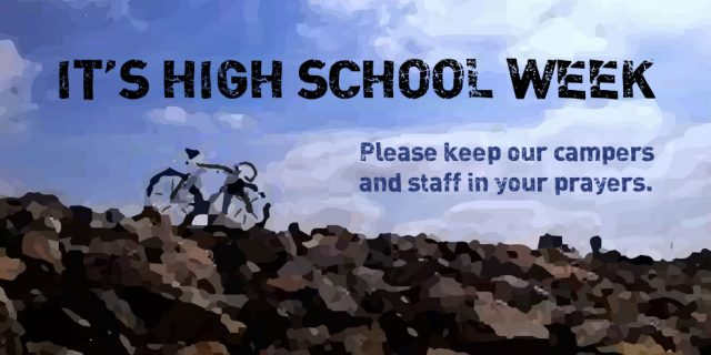 bike at top of rocky hill It's High School Week Pray for campers