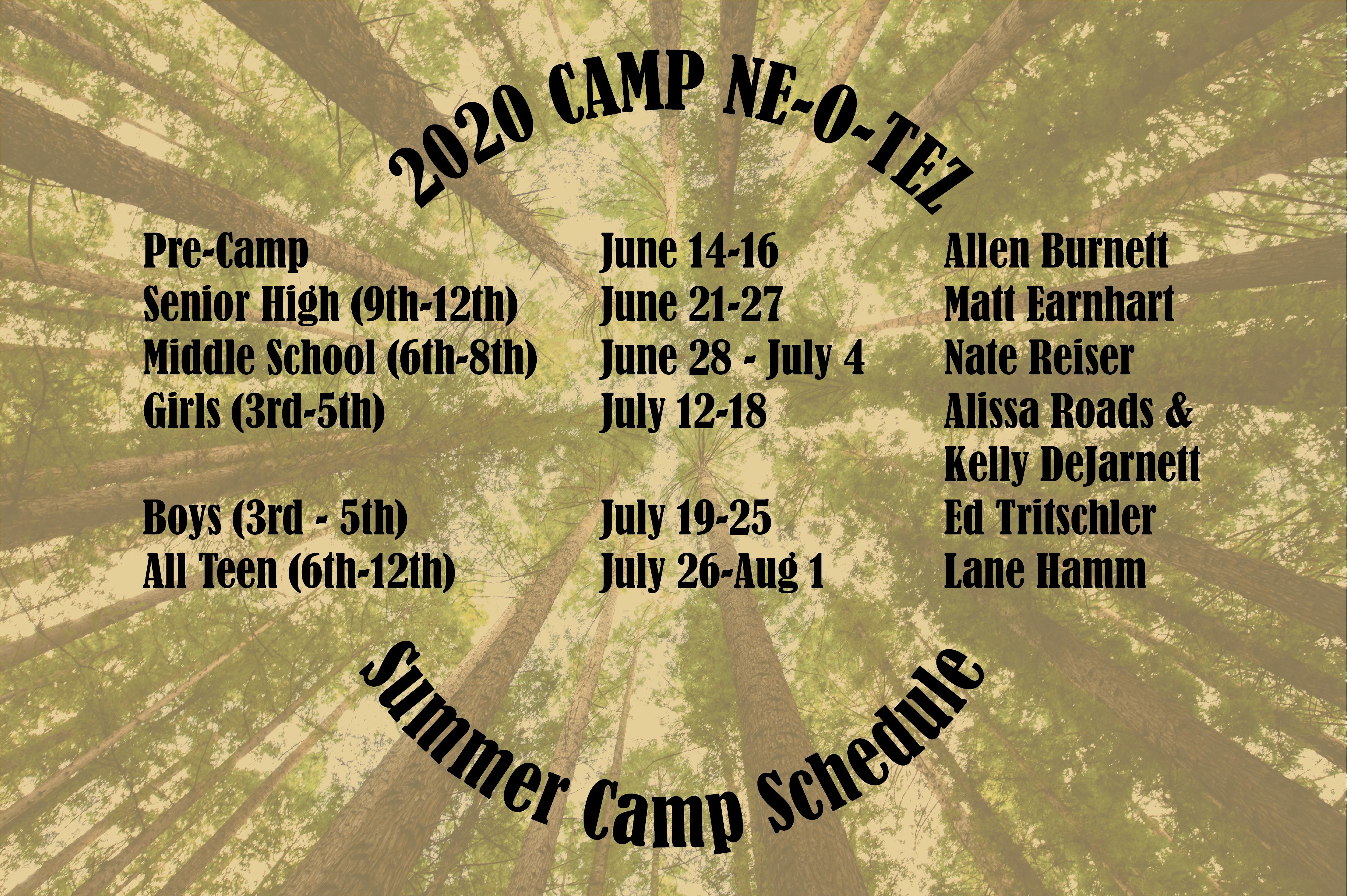 2020 Summer Schedule