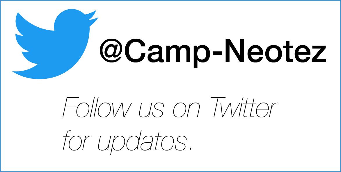 Back on Twitter @Camp-Neotez